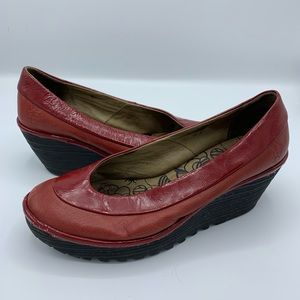 FLY London Red Leather Slip On Wedges Shoes
